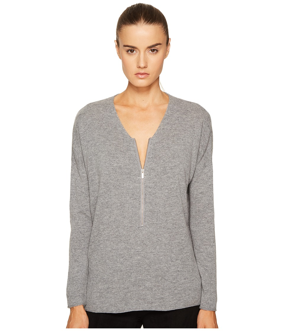 The Kooples Sweater with a Zip Neckline in Wool and Cashmere (Grey 1) Women