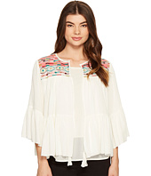 ROMEO & JULIET COUTURE - 3/4 Sleeve Aztec Embroidered Top