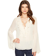 ROMEO & JULIET COUTURE - Chiffon Lace-Up Ruffle Top