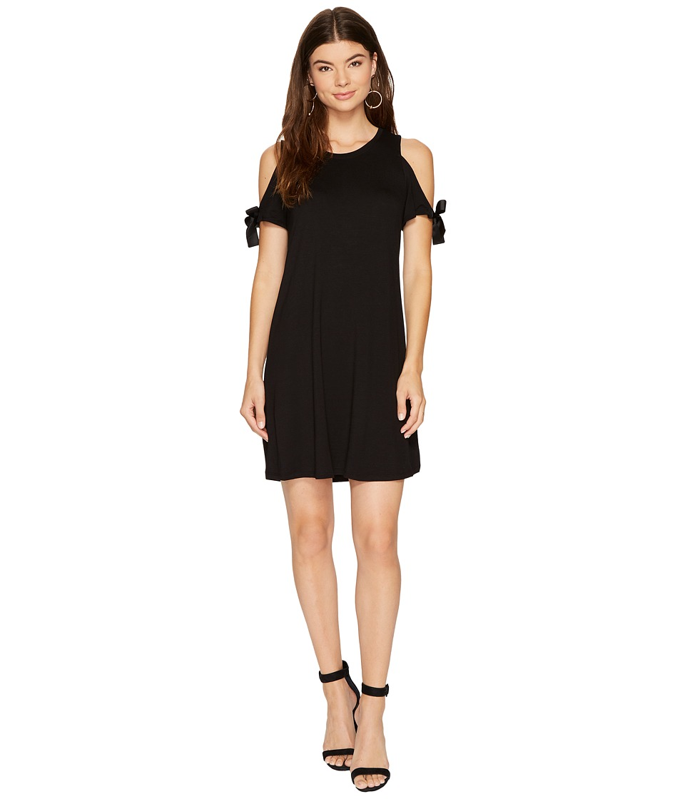 kensie Drapey French Terry Dress with Cold Shoulder Tie Detail KS8K9887 (Black) Women