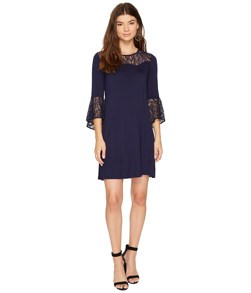 kensie Drapey French Terry Dress with Lace Detail KS8K9888 (Classic Navy) Women