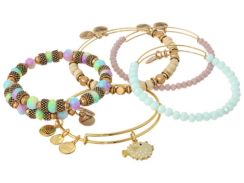 Alex and Ani Seaside Pufferfish Bracelet Set of 5 - Shiny Gold