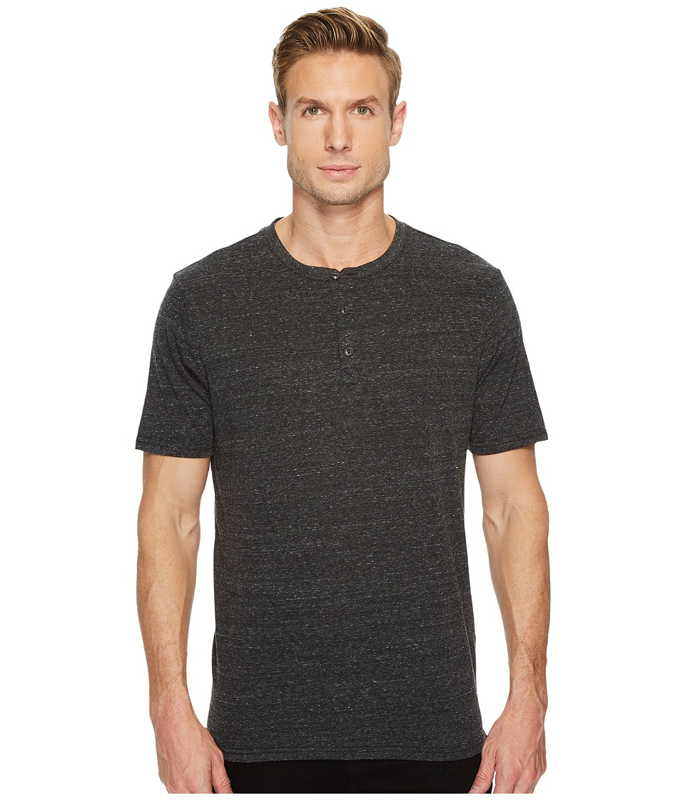 Threads 4 Thought - Baseline Short Sleeve Tri-Blend Henley (Heather Black) Mens Short Sleeve Pullover