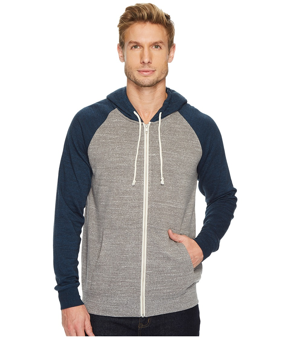 Threads 4 Thought - Malibu Raglan Hoodie (Heather Grey/Midnight) Mens Sweatshirt