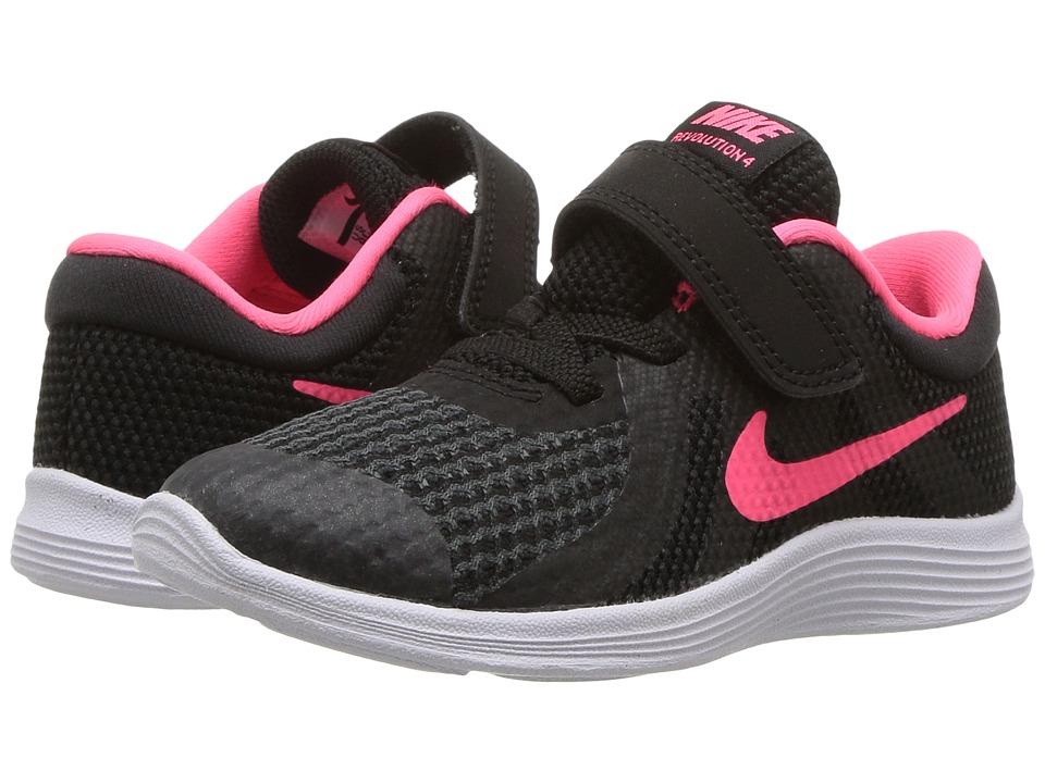 Nike Kids Revolution 4 (Infant/Toddler) (Black/Racer Pink/White) Girls Shoes