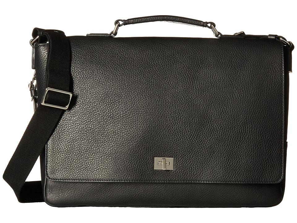 Shinola Detroit Signature Messenger Brief (Black) Briefcase Bags