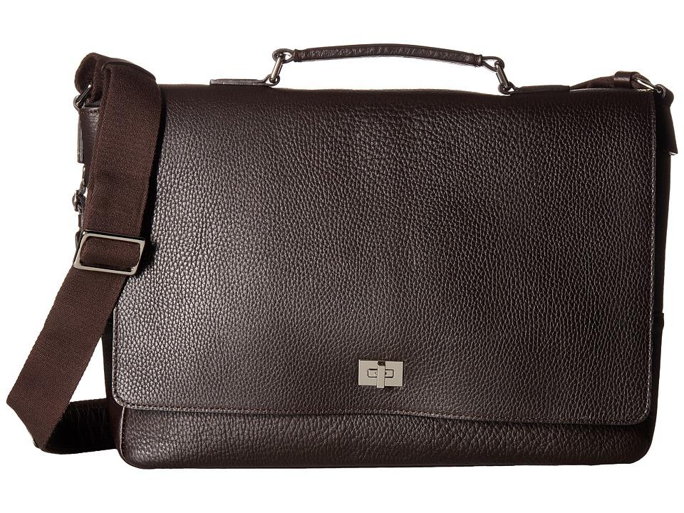 Shinola Detroit Signature Messenger Brief (Deep Brown) Briefcase Bags