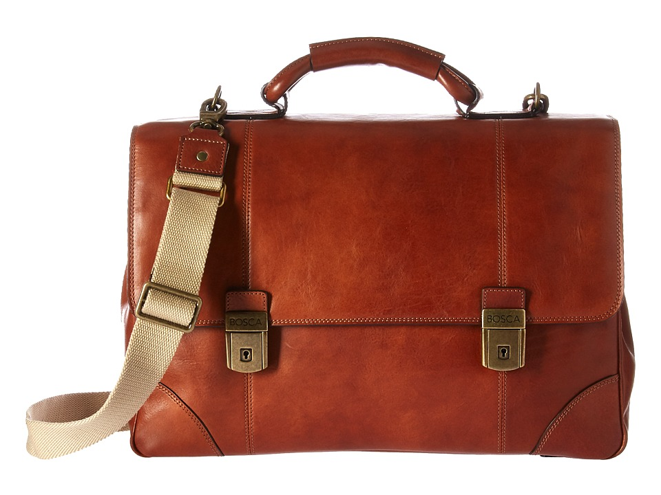Bosca Dolce Collection Double Compartment Flapover Brief (Amber) Briefcase Bags