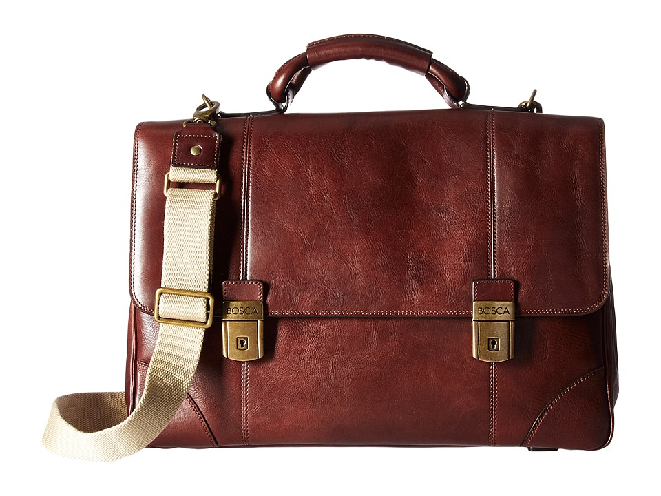 Bosca Dolce Collection Double Compartment Flapover Brief (Dark Brown) Briefcase Bags