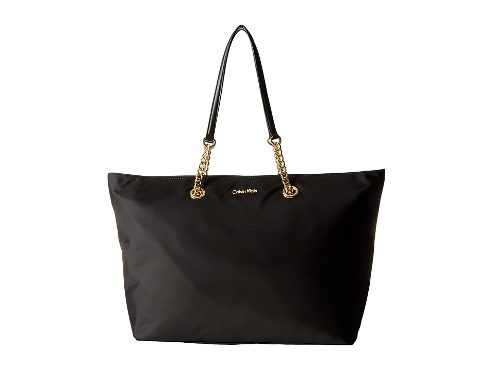 Calvin Klein - Large Chain Nylon Tote (Black/Gold) Tote Handbags