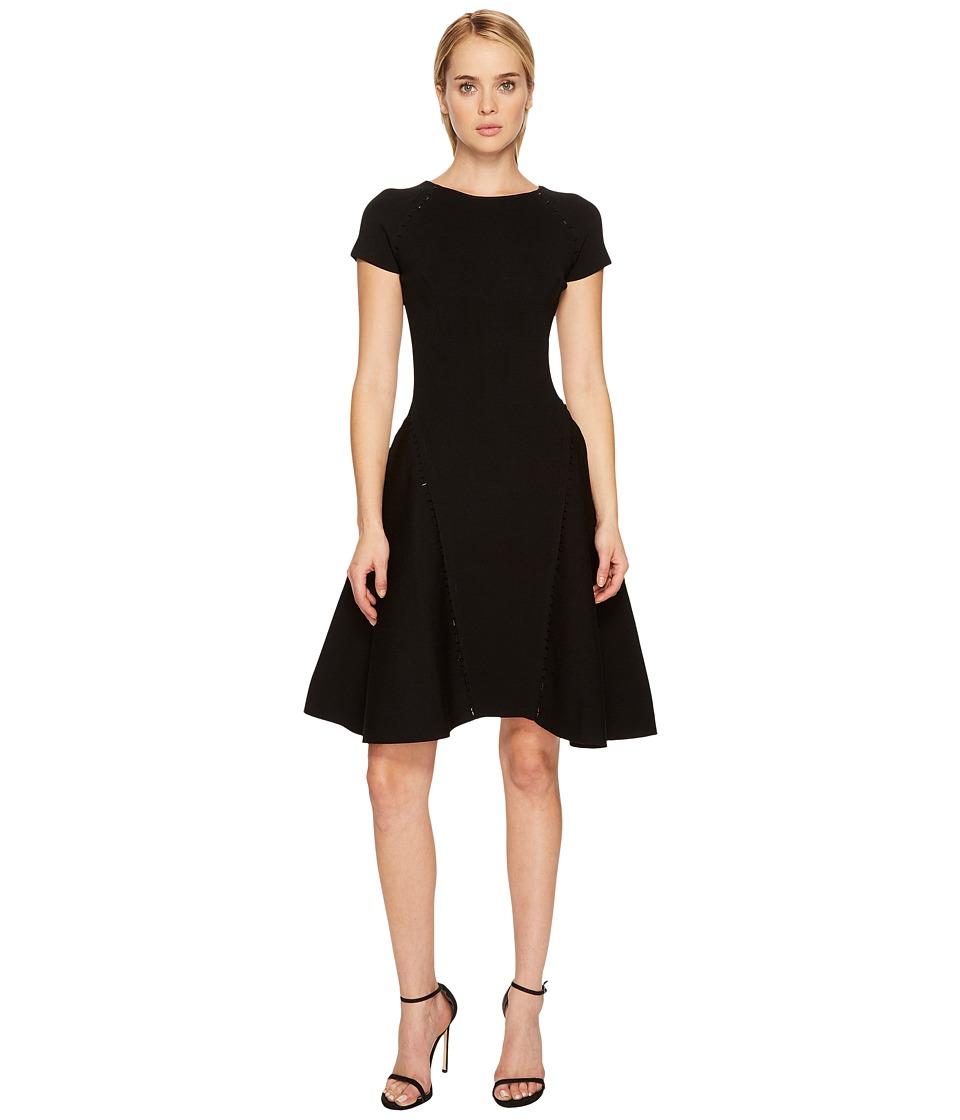 Zac Posen Fine Rib Knit Cap Sleeve Fit and Flare Dress (Black) Women