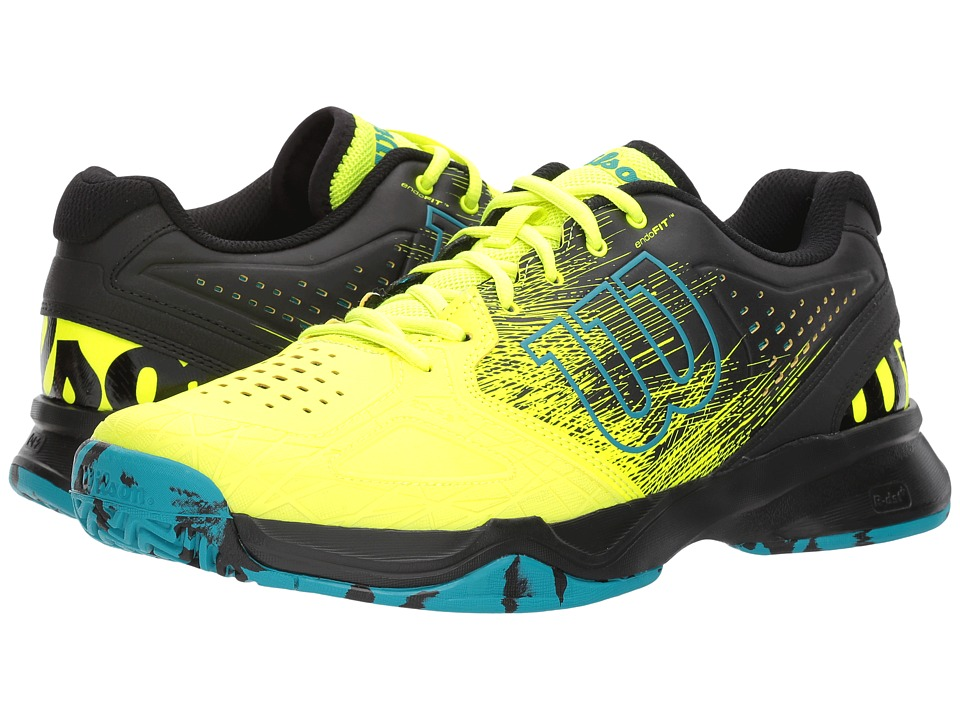 Wilson - Kaos Comp (Safety Yellow/Black/Enamel Blue) Mens Tennis Shoes
