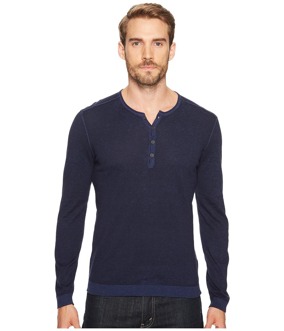 John Varvatos Star U.S.A. Reverse Printed Long Sleeve Henley Y1523T2B (Navy) Men