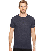 John Varvatos Star U.S.A. - Melange Short Sleeve Knit Henley w/ Trim Tape at Placket K3167T2L