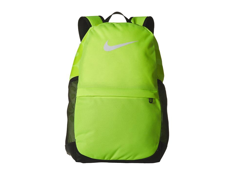Nike Brasilia Backpack (Little Kids/Big Kids) (Volt/Black/White) Backpack Bags