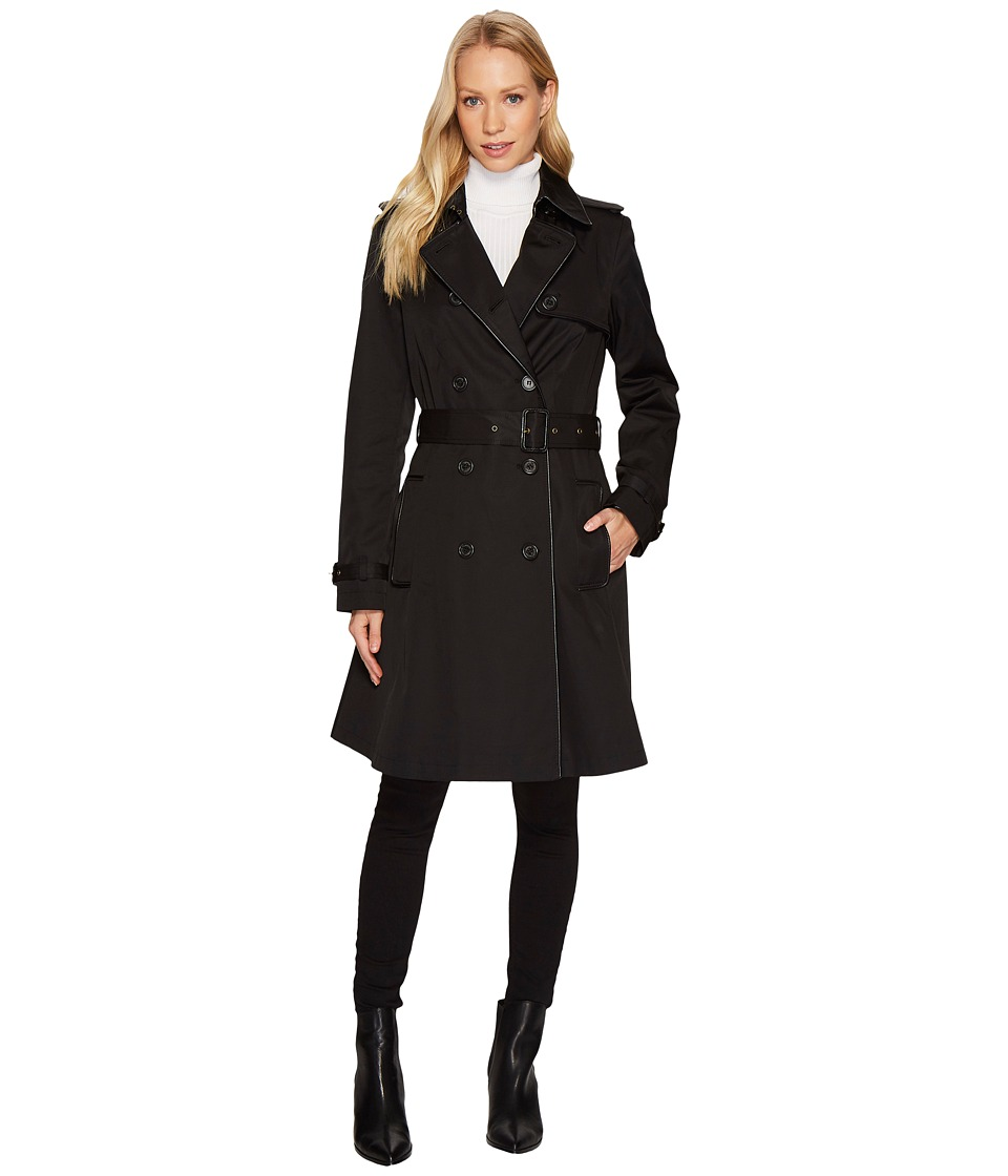 Ralph Lauren Double Breast Faux Leather Trim Trench (Blac...
