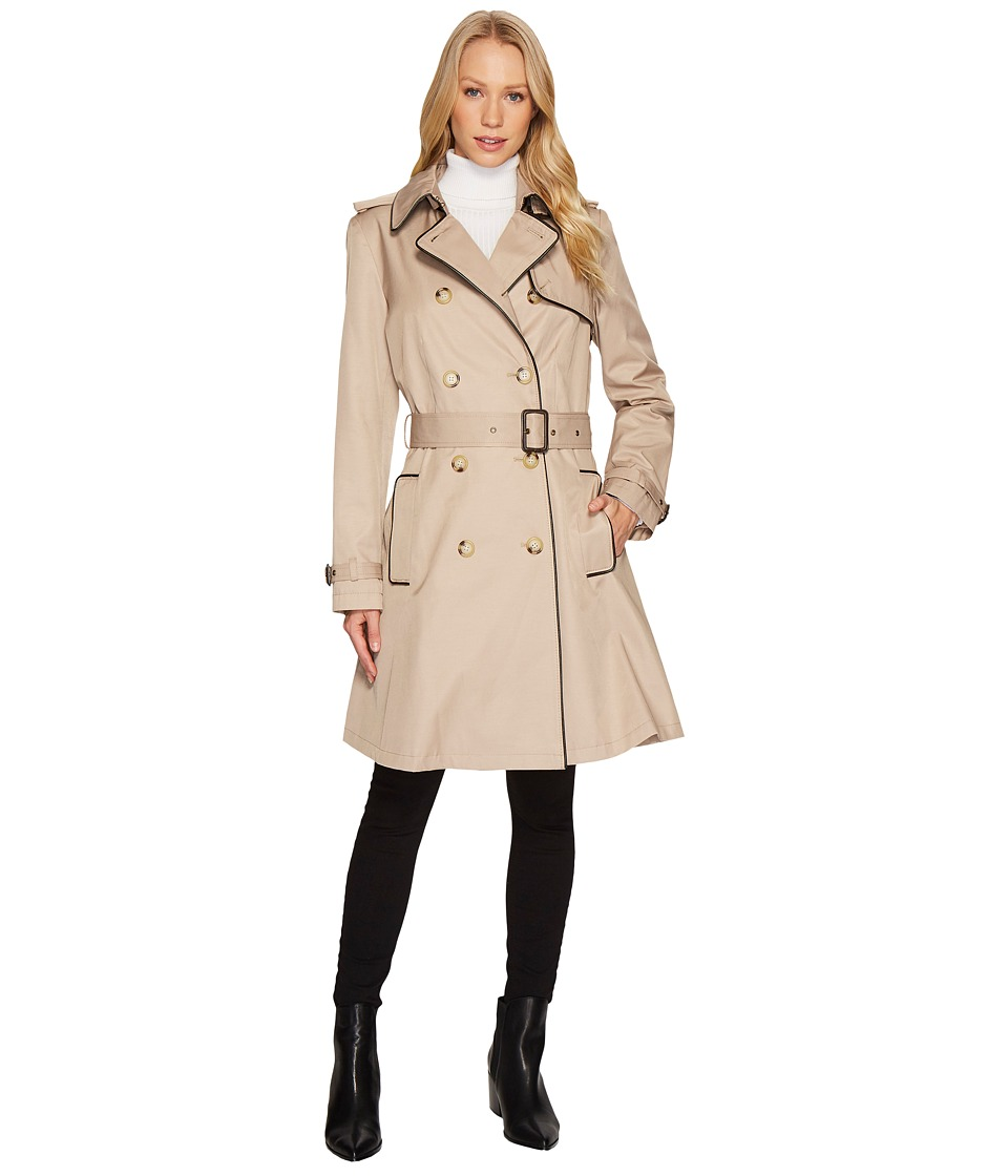 Ralph Lauren Double Breast Faux Leather Trim Trench (Sand...