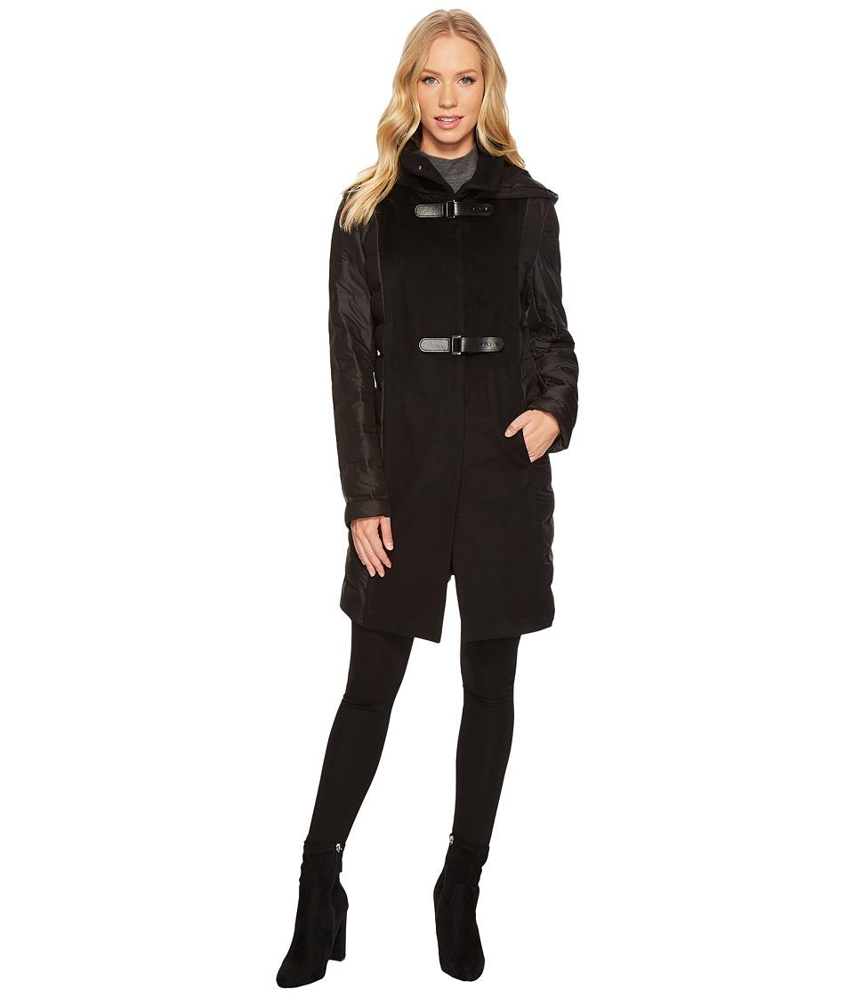 Ralph Lauren Buckle Front Mixed Media (Black) Women's Coat