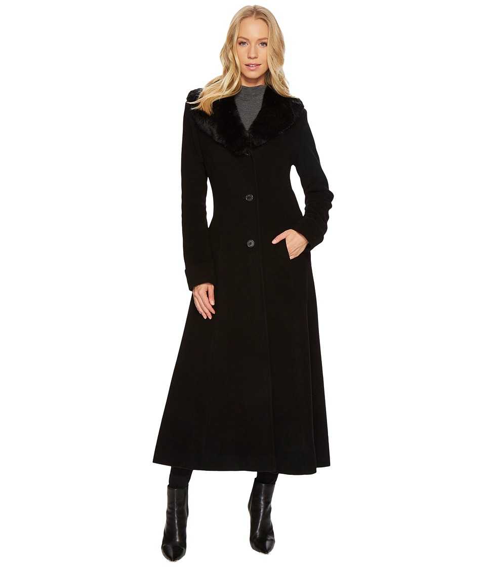 Vintage Coats & Jackets | Retro Coats and Jackets LAUREN Ralph Lauren - Faux Fur Shawl Collar Fit Flare Maxi Black Womens Coat $420.00 AT vintagedancer.com