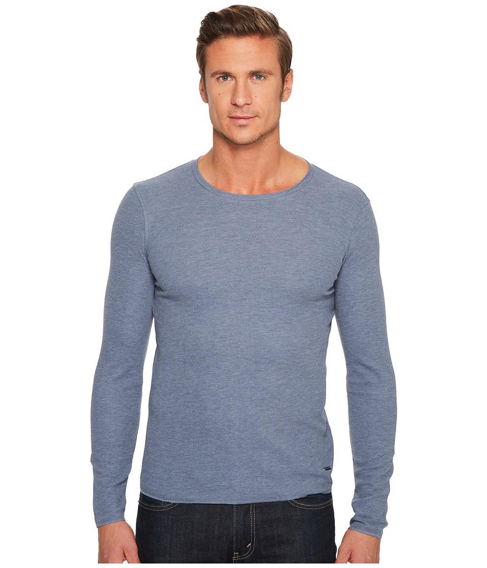 BOSS Orange Terris 1 Long Sleeve Heather Waffle T-Shirt (Blue 1) Men