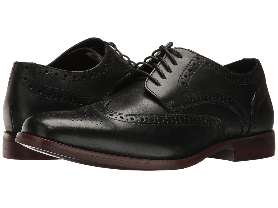 1940s Mens Clothing Rockport - Style Purpose Wingtip Black Leather Mens Lace Up Wing Tip Shoes $106.76 AT vintagedancer.com