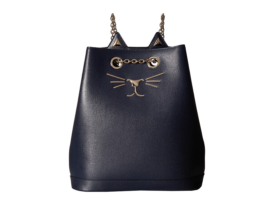 Charlotte Olympia - Feline Backpack (Navy) Backpack Bags