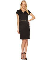 Ellen Tracy - Short Sleeved Scuba Dress with Chain Detail