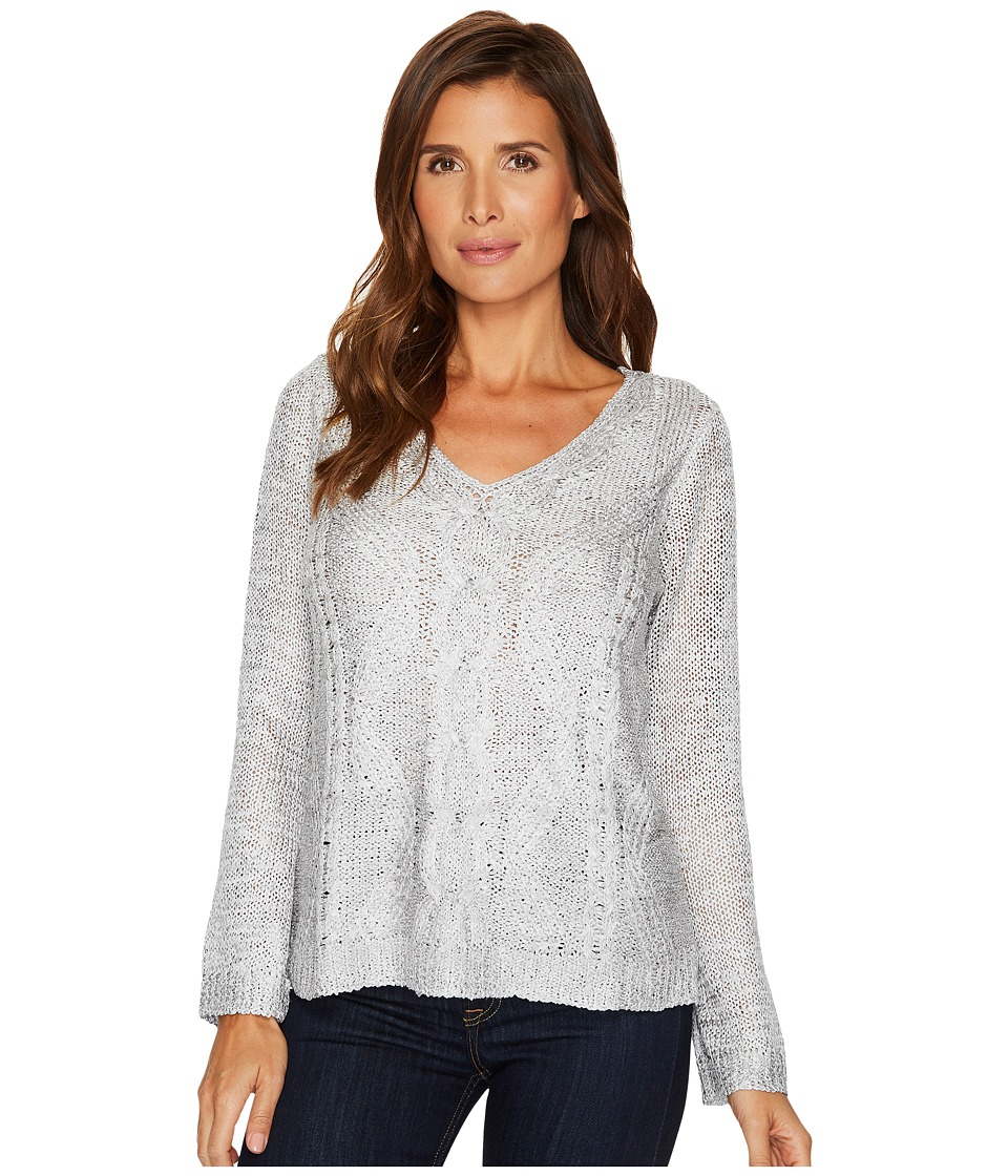 Nic+Zoe Cable Wave Top (Smoke) Women's Sweater