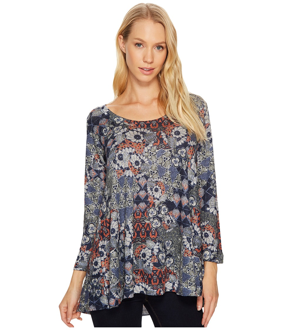 Nally & Millie Nally & Millie - Grey Ikat Print Long Sleeve Tunic