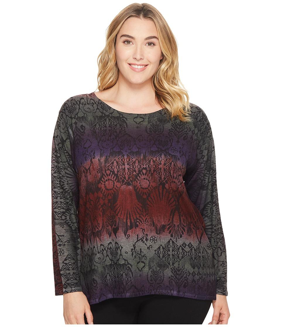 Nally & Millie - Plus Size Tribal Print Sweater Tunic