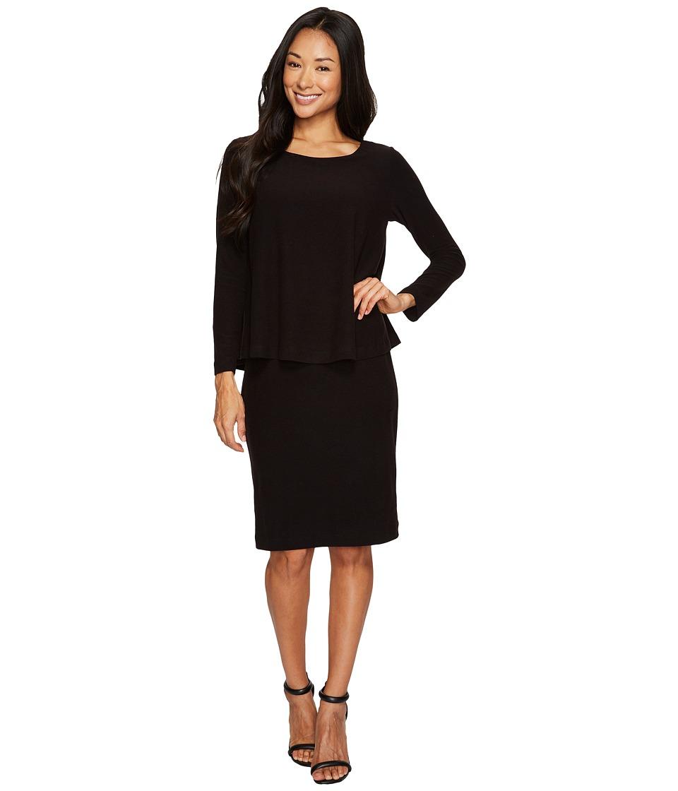 Nally & Millie Long Sleeve Layered Dress (Black) Women