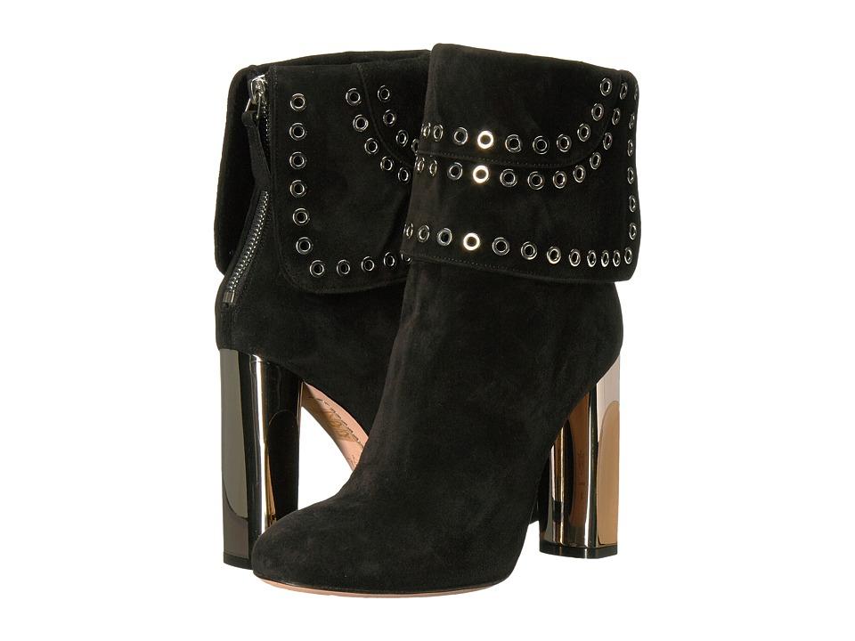 Alexander McQueen Sculpted Heel Eyelet Ankle Boot (Black/Black) Women
