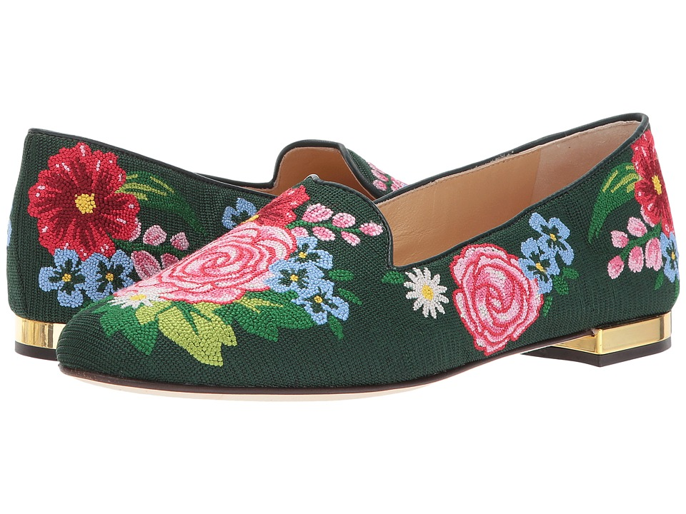 Charlotte Olympia Rose Garden Slipper (Multicolor Embroidered Canvas) Women