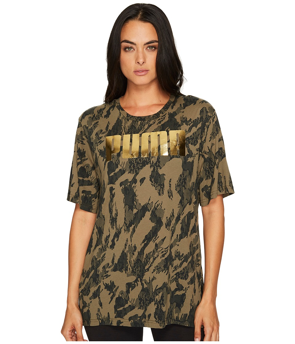 PUMA Rebel Boyfriend Tee (Olive Night/Gold Print) Women