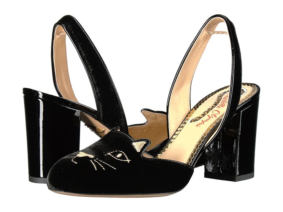 Charlotte Olympia Kitty Slingback (Black Velvet/Patent) H...