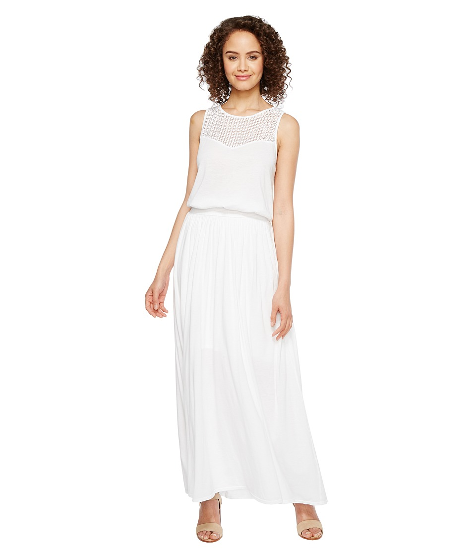 Three Dots Trellis Lace Maxi Dress (White) Women