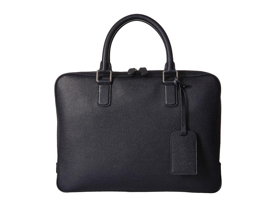 Giorgio Armani Caviar Leather Briefcase (Blue Notte) Briefcase Bags