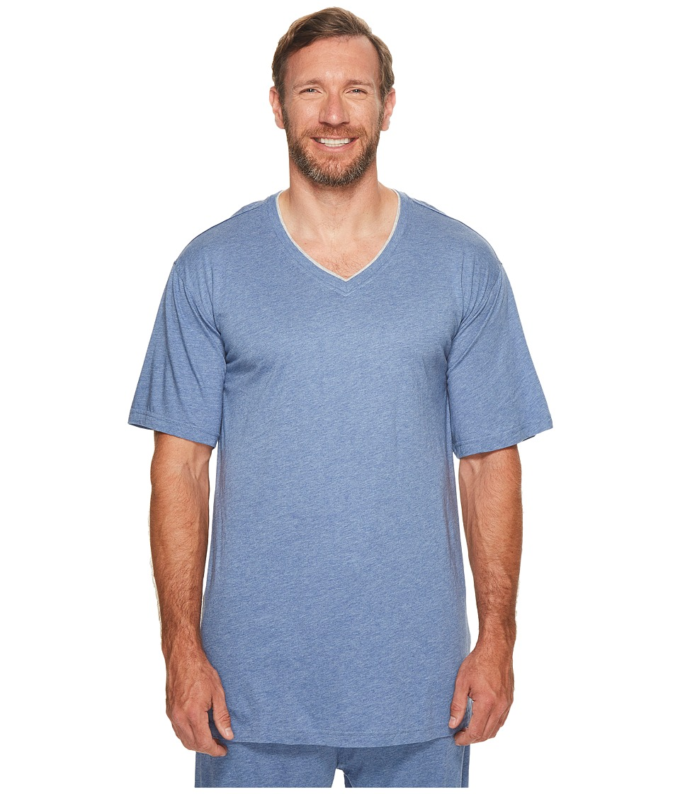 Tommy Bahama Big Tall Cotton Modal V-Neck Short Sleeve T-Shirt (Denim Heather) Men