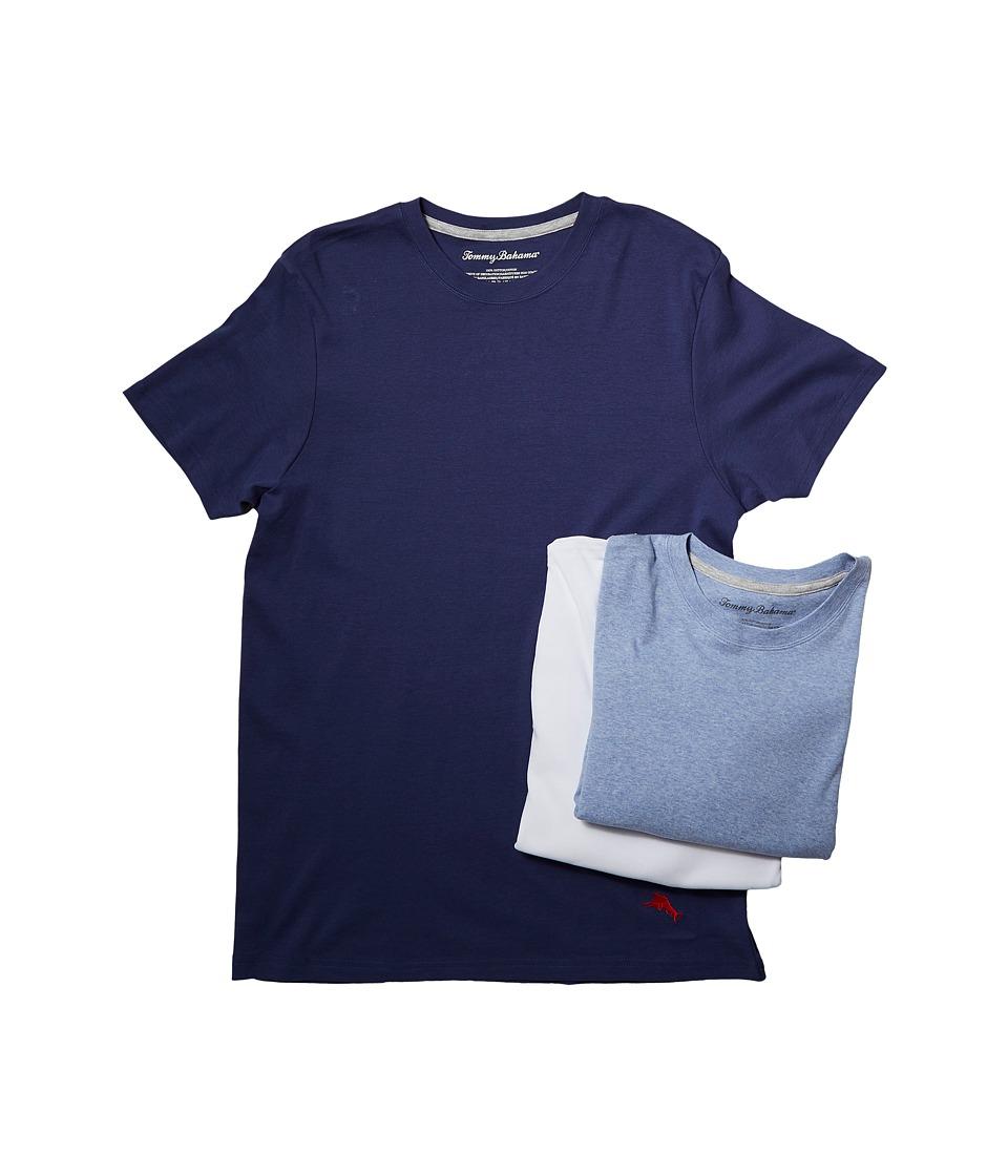 Tommy Bahama Breathe Easy Crew Neck T-Shirt 3-Pack (Blue Heather/White/Deep Cobalt) Men