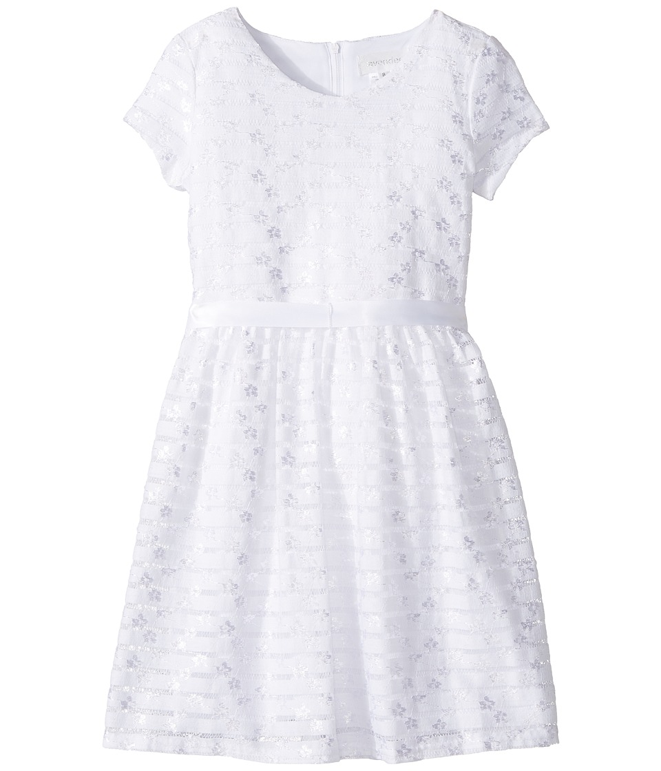 Us Angels - Short Sleeve Embroidered Lace Dress with Full Skirt