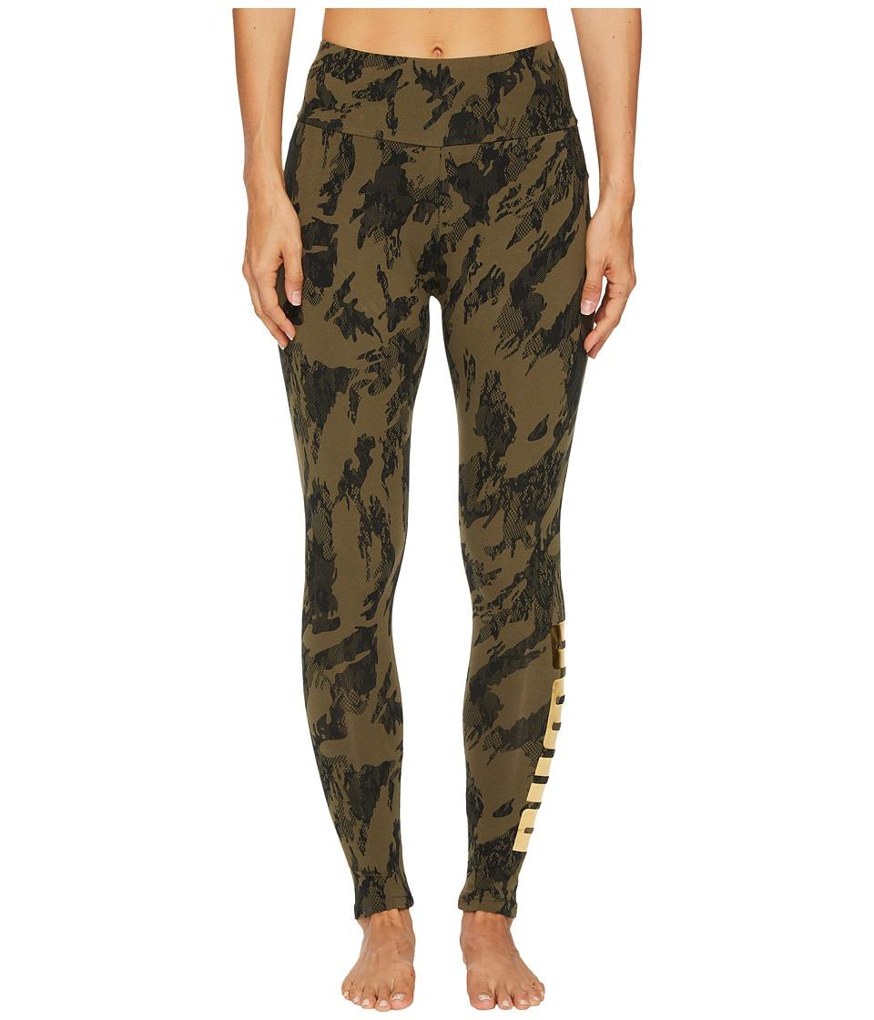 PUMA Rebel Leggings (Olive Night/Gold Print) Women