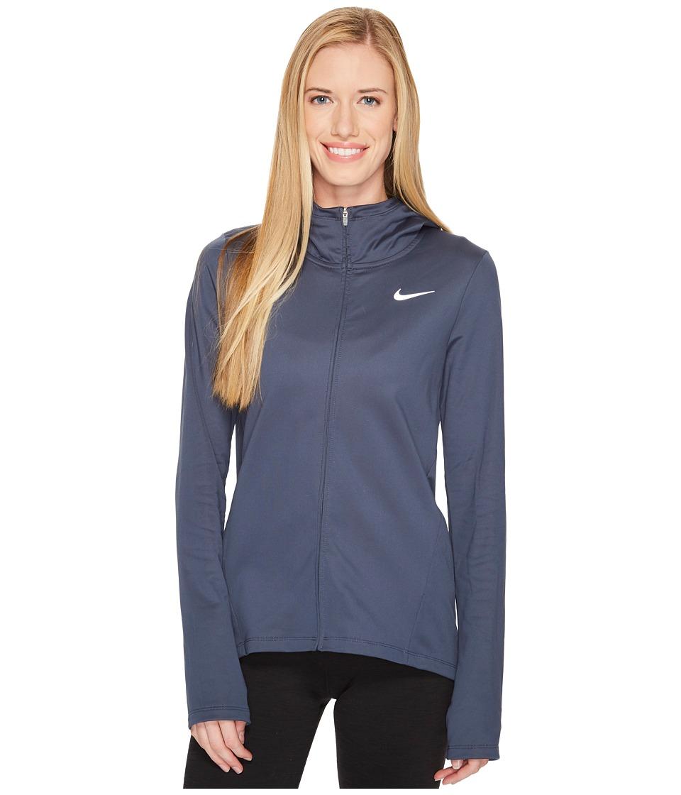Nike Therma Full-Zip Running Hoodie (Thunder Blue) Women