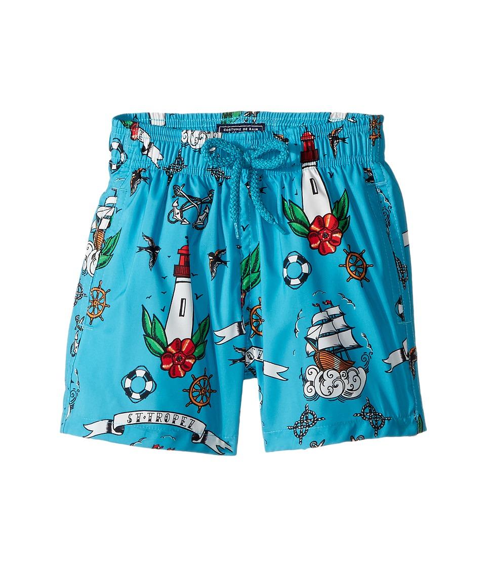 Vilebrequin Kids Tattoo Sashimi Swim Trunk (Toddler/Little Kids/Big Kids) (Blue) Boy