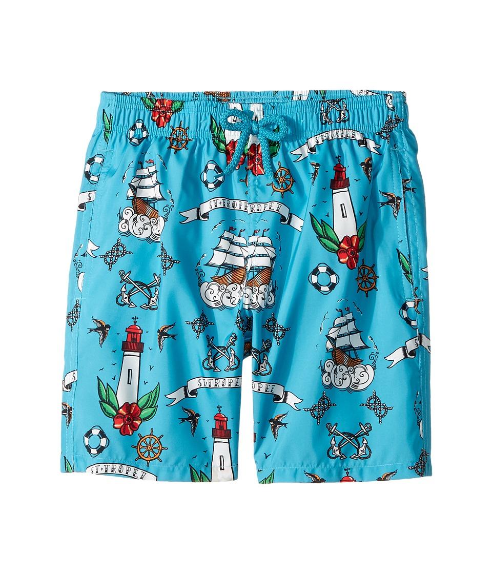Vilebrequin Kids Tattoo Sashimi Swim Trunk (Big Kids) (Blue) Boy