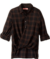 Blank NYC Kids - Plaid Drape Front Shirt in Hot Cocoa (Big Kids)