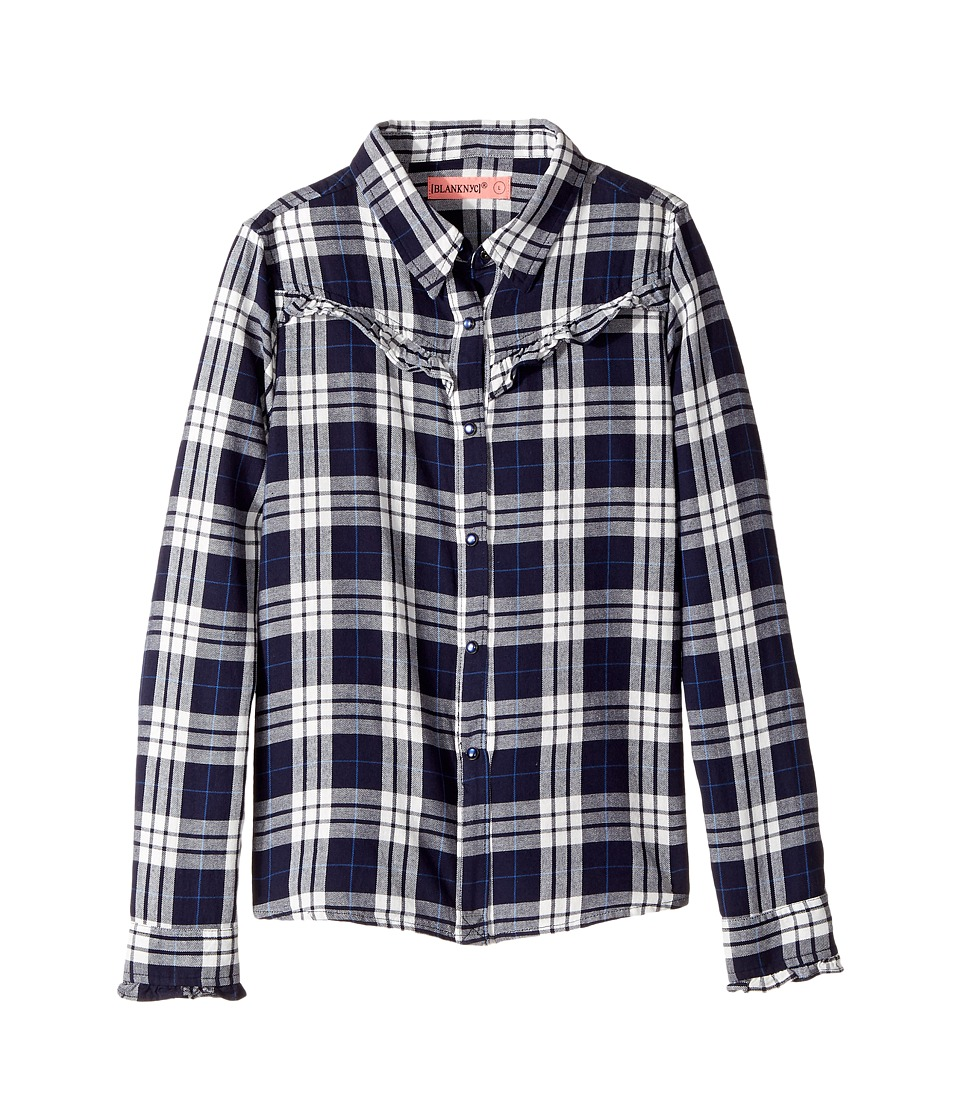 Blank NYC Kids - Navy Plaid Shirt in Bluejay