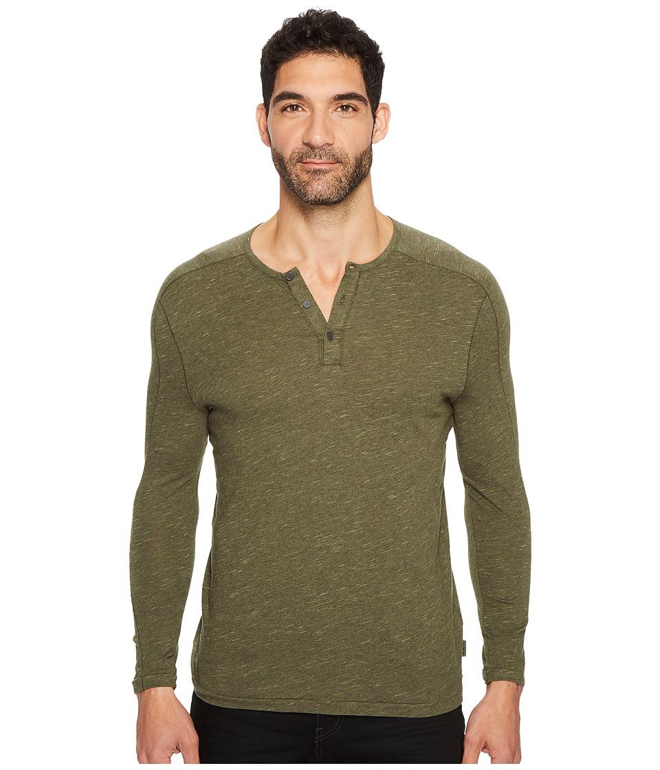 John Varvatos Star U.S.A. Long Sleeve Knit Henley with Vertical Pickstitch Sleeve Seam Detail K3253T3B (Olive Branch) Men