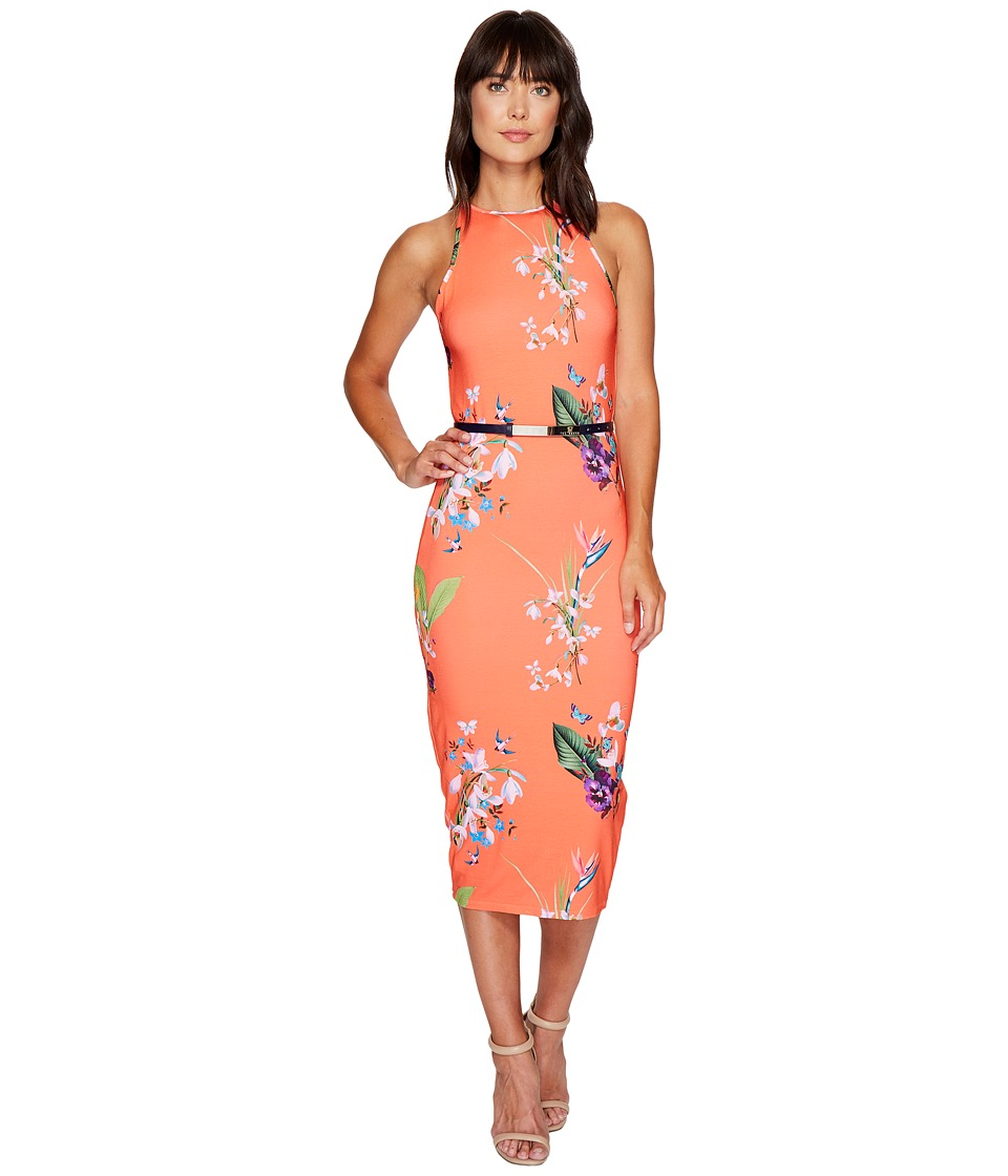 Ted Baker Joelia Tropical Oasis Bodycon Dress (Mid Red) Women