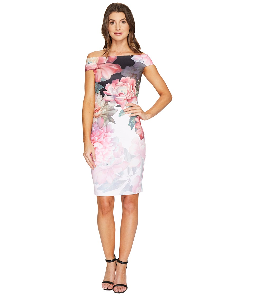 Ted Baker Emly Painted Posie Off Shoulder Dress (Baby Pink) Women