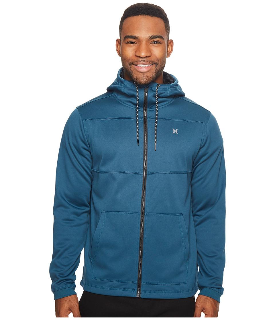 Hurley Therma Protect Zip Fleece Hoodie (Space Blue) Men